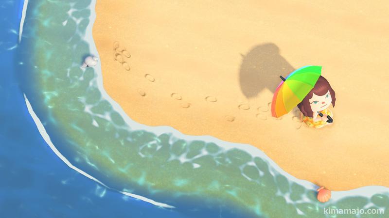 砂浜とパラソル